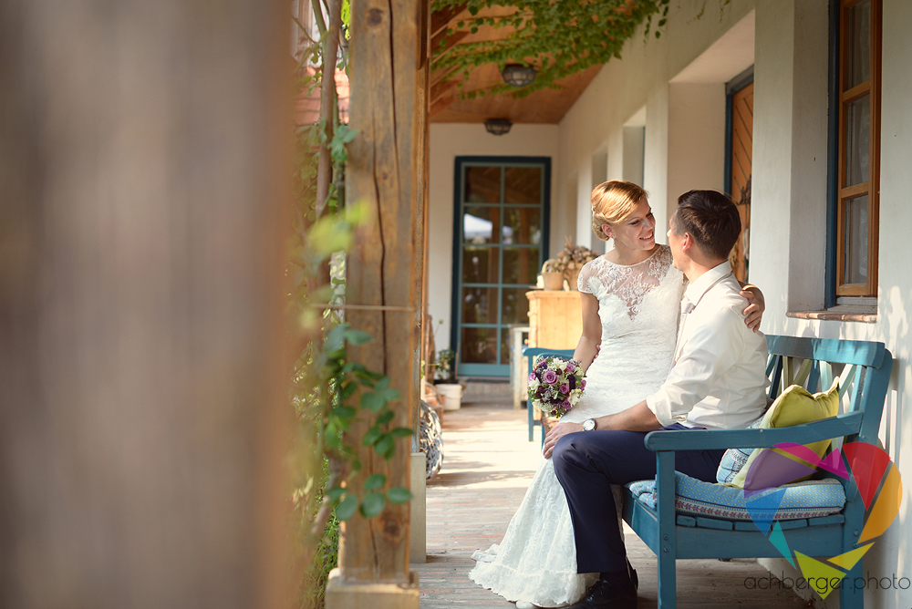 couple wedding porch